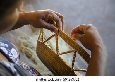 Golden grass basket. Tocantins, Brazil