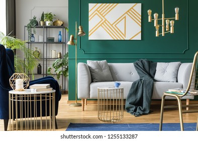 Golden, green and grey accents in contemporary living room interior
