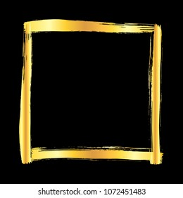 Golden grunge brush stroke square frame isolated over black background. Design element illustration.