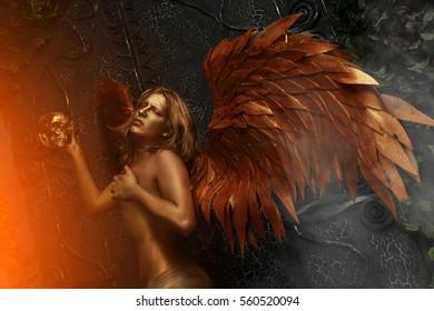 Golden Guard Archangel Near Huge Gothic Gates Fairytale