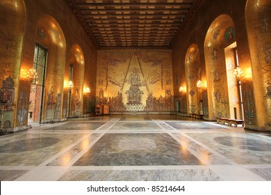 Golden hall room inside the City Hall in Stockholm where the Nobel prize winners are thrown a dinner and dance banquet