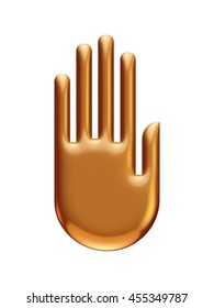Golden hand in 3d rendered on isolated white background.