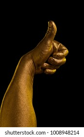 Golden hands and gestures on a black background