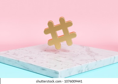 Golden Hashtag Icon on the Candy Background . 3D Illustration of Golden Hash, Hash Mark, Hashtag, Tag, Topic, Trending Icons on Pink and Blue Color With White Marble.
