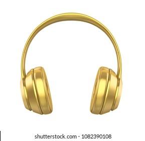 Golden Headphones Isolated. 3D rendering