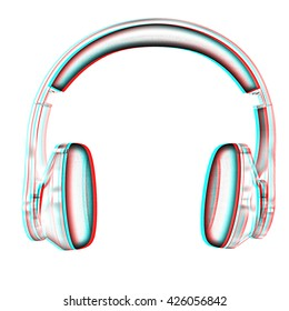 Golden headphones on a white background. Pencil drawing. 3D illustration. Anaglyph. View with red/cyan glasses to see in 3D.