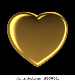 Golden heart isolated on black, 3d rendered image