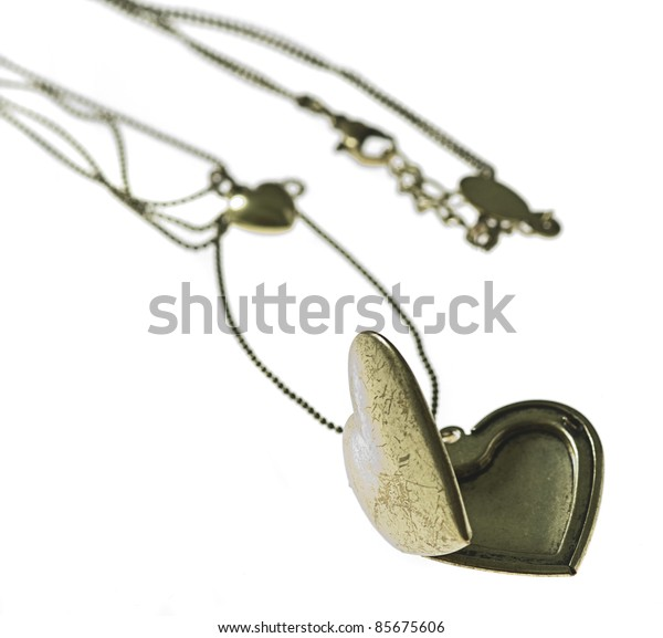 golden heart necklace isolated on a white background