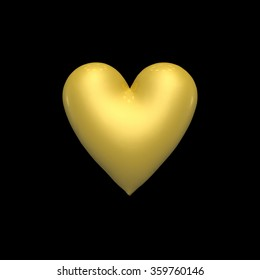Golden heart on a black background. 3D volume