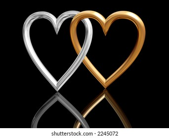 golden heart rings intersecting