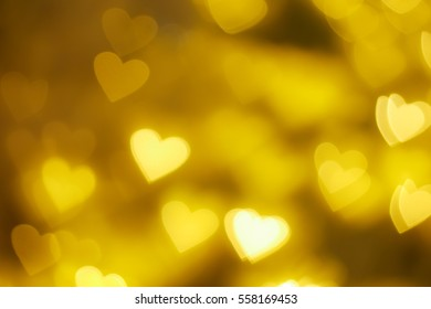 Golden Heart Shape Bokeh Background. (Floating)