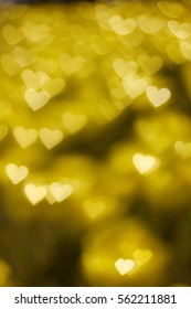 Golden heart shape bokeh backgroup