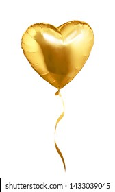 Golden heart shaped air balloon. Isolated on white background