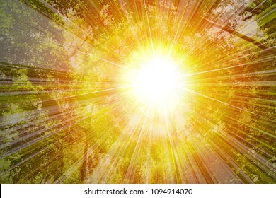 Golden heaven light Hope concept abstract blurred background  evening sunset scenario by nature light blasting sun with rays and reflections and ramadan month