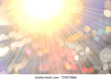 Golden heaven light Hope concept abstract blurred background  evening sunset scenario by nature light blasting sun with rays and reflections