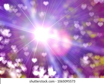 Golden heaven purple light and love hearts sign Hope concept abstract blurred background evening sunset scenario by nature light blasting sun with rays and reflections and ramadan month