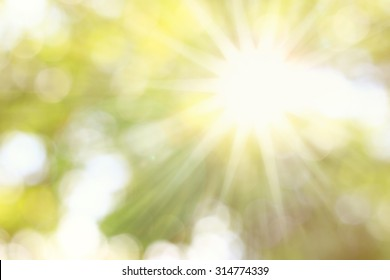 Golden heaven splashing light in Hope concept abstract blurred background from nature with sun splash and gold leaves for ramadan month