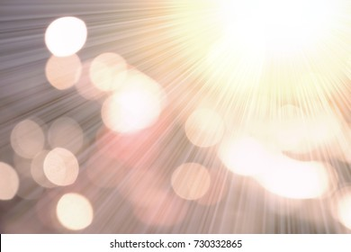 Golden heaven sun light concept: Abstract blur sun splash with bright nature and circular bokeh flare spark texture background