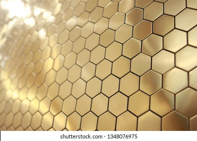 Golden hexagon cell tiling on the luxury decoration interior with modern financial business concept about cryptocurrency block chain cyber system of future banking technology