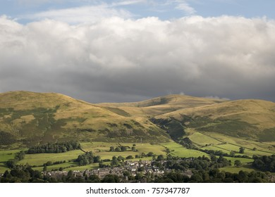 The golden hills above the town of Sedbergh England