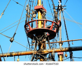 The Golden Hinde is docked at the side of the River Thames, London, England, UK. It is a full sized exact replica of Sir Francis Drake's 16th Century warship