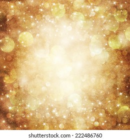 Golden Holiday Abstract Glitter Defocused Background With Blinking Stars.