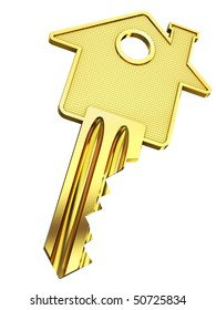 Golden home key with house silhouette (3d illustration)