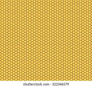 Golden honeycomb background, hexagons pattern