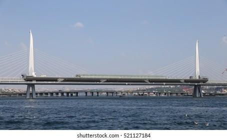 Golden Horn Metro Bridge in Istanbul City, Turkey