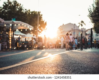 Golden Hour: convival market scene in Southern France at sunset