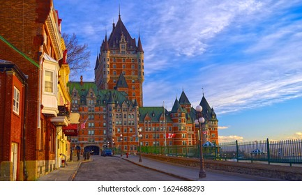 Golden hour early morning view of the Château Frontenac - an iconic landmark in Quebec City, Quebec, Canada