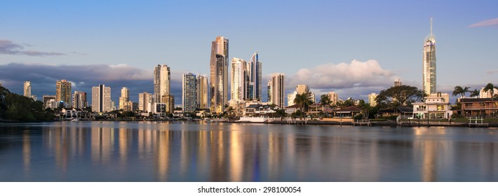 Golden Hour of the Heart of Surfers Paradise During a Stunning Sunset, Gold Coast, Queensland, Australia