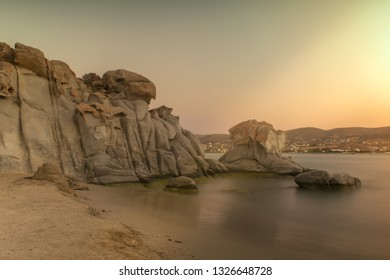 Golden hour at Kolymbithres beach at Paros island in Greece.