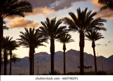 Golden hour with the mountains on the outskirts of Las Vegas, Nevada.