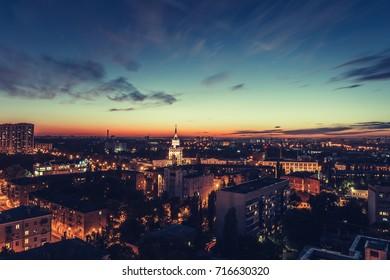 Golden hour, Night city Voronezh, panorama, toned