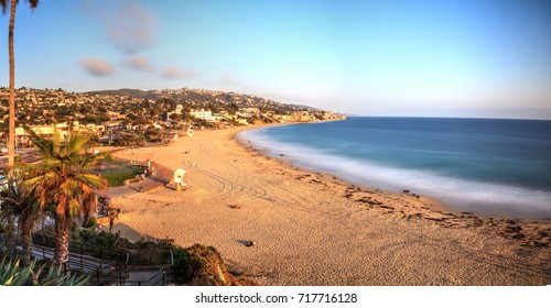 Golden Hour over the ocean through a neutral density filter at Main Beach in Laguna Beach, California, USA
