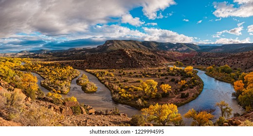 Golden Hour Panorama Of Rio Chama Valley In Abiquiu - Rio Arriba County New Mexico