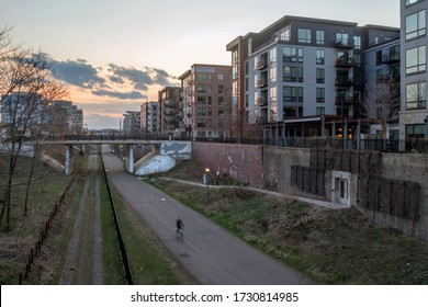 A Golden Hour Shot over the Greenway Bicycle Trail in Residential Uptown, Minneapolis