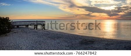 Golden Hour Sunset Clam Pass Beach Stock Photo (Edit Now