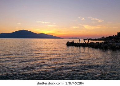 Golden hour sunset drone shot of Karaburun Peninsula located in the Albania Riviera.