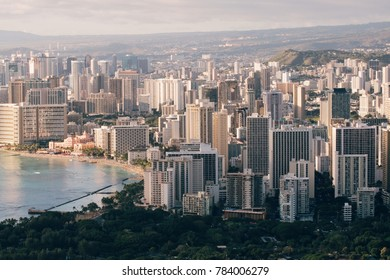 Golden hour sunset landscape of Waikiki from DiamondHead mountain in Hawaii