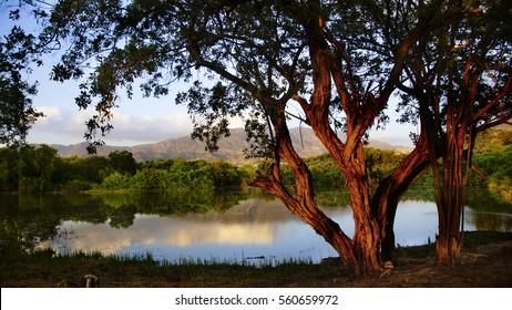 Golden Hour sunset on the lake, Montrouis, Haiti