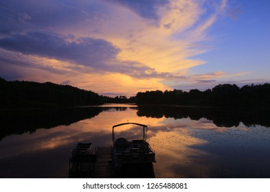 The Golden Hour.  Sunset over Broken Bow lake in Lac Du Flambeau, Wisconsin