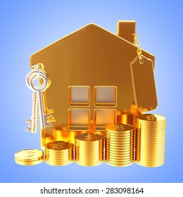 Golden house with blank label and stacks of coins on blue background