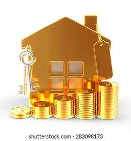 Golden house with blank label and stacks of coins isolated on white background