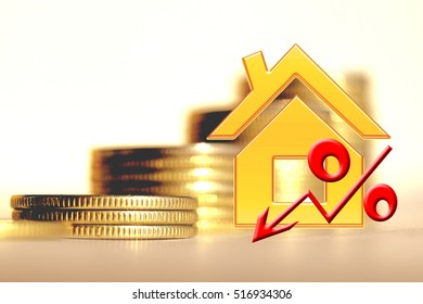 Golden house and interest on a background of money . The concept of price changes on the real estate market .