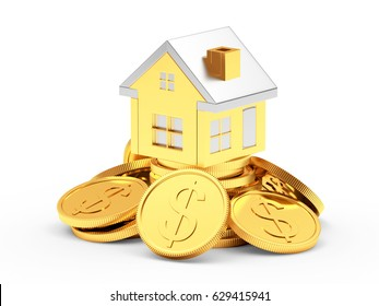 Golden house on a pile of coins with dollar sign isolated on white. 3d illustration