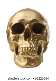 Golden human skull isolated on white background