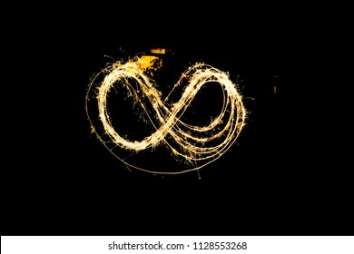 Golden infinite symbol long exposure