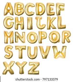 Golden Inflatable letter alphabet isolated on a white background.
